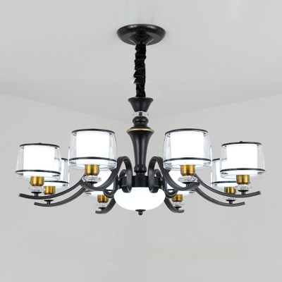 Cylinder Ceiling Pendant Lamp Modern Clear and Frosted Glass 10/12/18 Bulbs Black Chandelier