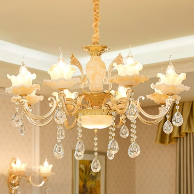 Frost Glass Round/Flower/Lotus Chandelier Traditional 10/12/18-Bulb Restaurant Ceiling Pendant Lamp in Gold