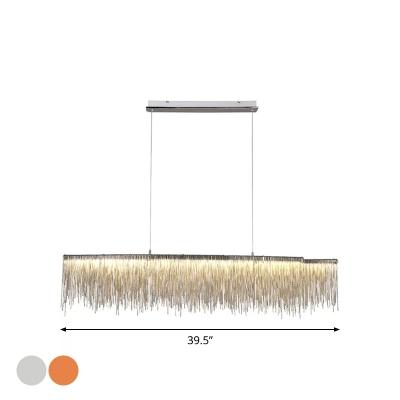 Linear Aluminum Chain Suspension Pendant Modern Silver/Rose Gold LED Chandelier Light, Small/Medium/Large