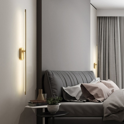 Metal Needle LED Wall Light Fixture Minimalist 1/2-Light Gold Sconce with Power Switch/USB Charging Port