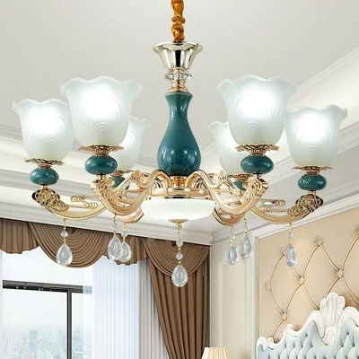 Modern 8/10/15 Lights Indoor Lighting Green Scalloped Light Fixture with Opaque Glass Shade