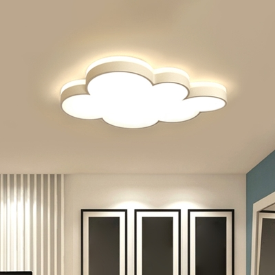 Small/Large Acrylic Cloud Ceiling Fixture Cartoon White/Pink/Blue LED Flush Mounted Light for Child Room