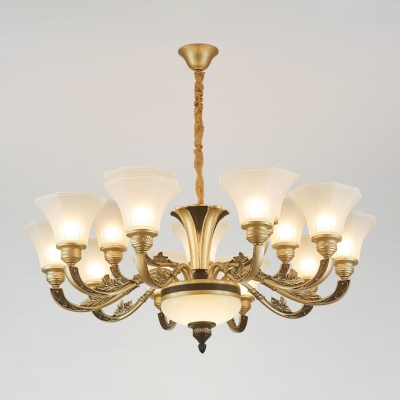 10/12/15 Bulbs Up Chandelier Traditional Paneled Bell Frosted White Glass Pendant Light Fixture in Brass