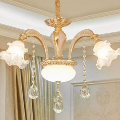8/10/12 Lights Bedroom Chandelier Modern Gold Wall Lamp Fixture with Layered Ruffle Frosted Glass Shade and Crystal Deco