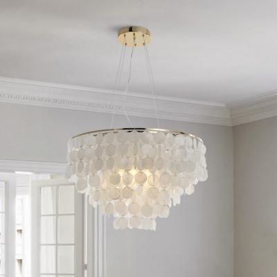 Coastal Layered Circle Pendant Lamp 3/4/6-Light Shell Ceiling Hang Light in Gold, 10.5
