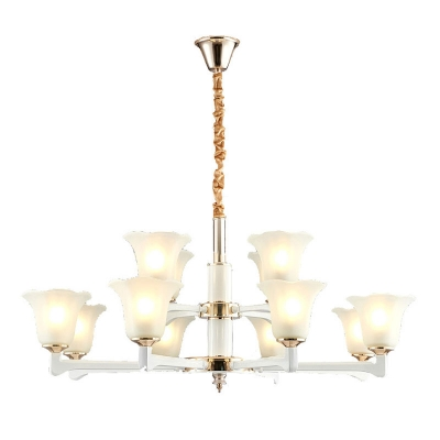 Ivory Floral Up Chandelier Lamp Modern 6/8/12-Bulb Frosted Glass Pendant Lighting Fixture for Bedroom
