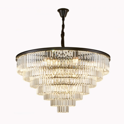 Prismatic Crystal Tiered Tapered Drop Lamp Postmodern 9/15/25 Heads Chandelier Light in Black/Gold, 19.5