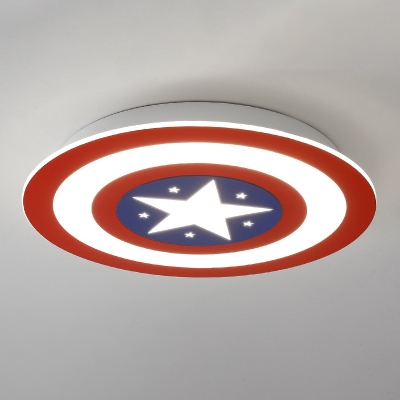 Red-White Shield Flushmount Cartoon Acrylic Small/Medium/Large LED Ceiling Flush Light in Warm/White Light