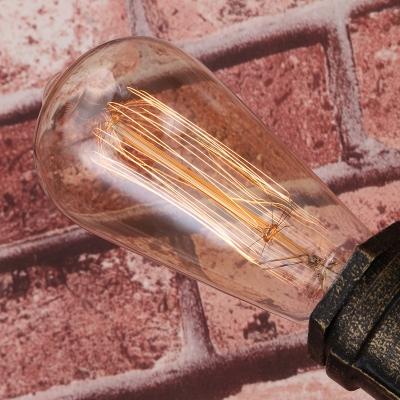Rifle Gun Living Room Wall Light Cyberpunk Wrought Iron 2-Head Rust Wall Mount Lamp with Faux Faucet