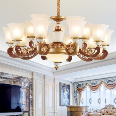 Scalloped Ribbed Frosted Glass Chandelier Traditional 10/12/15-Light Bedroom Suspension Light in Gold