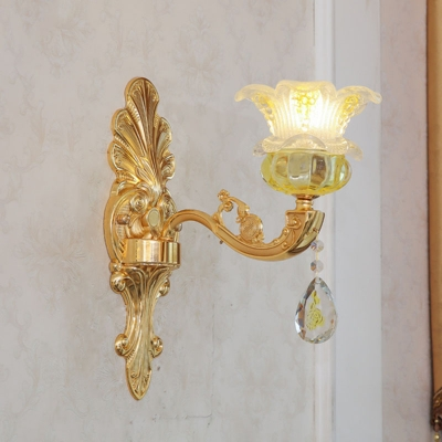 1/6/18-Light Blossom Ceiling Chandelier Traditional Gold K9 Crystal Wall Mount Light Fixture for Bedroom