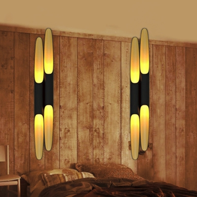 Bias-Cut Tube Flush Wall Sconce Post-Modern Metal 1/2-Head Black and Brass Inner Wall Light for Bedroom, 6.5