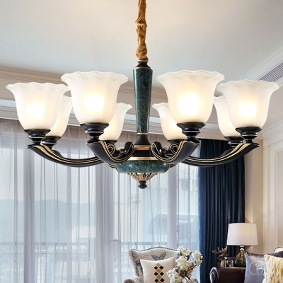 Blackish Green 6/8/18 Bulbs Chandelier Vintage Opal Frosted Glass Bell Pendant Lamp with Scalloped Edge