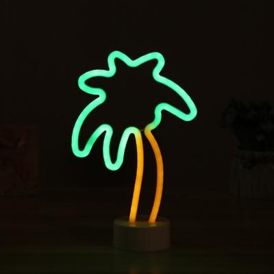 Palm Tree Small Night Light Cartoon Plastic Kids Bedroom LED Table Lamp in White