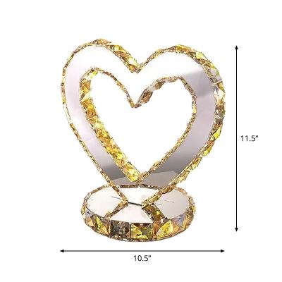 Stylish Modern Loving Heart Table Lamp Crystal Embedded LED Nightstand Light in Stainless Steel, Warm/White Light