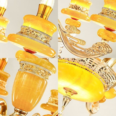 6/8/12-Head Jade Hanging Chandelier Traditional Gold Candle Restaurant Ceiling Pendant with Crystal Droplet