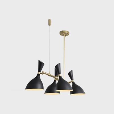 Funnel Kitchen Bar Island Pendant Metal 4 Lights Modern Adjustable Hanging Lamp in Black/White