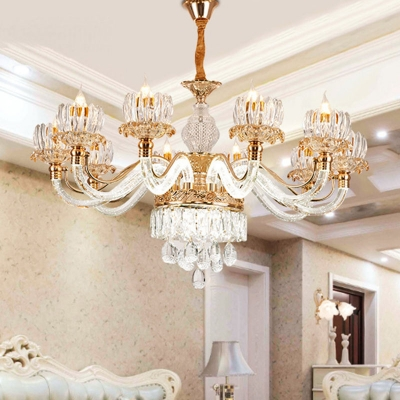 K9 Crystal Clear Hanging Ceiling Light Lotus Blossom 6/8/15 Heads Traditional Chandelier