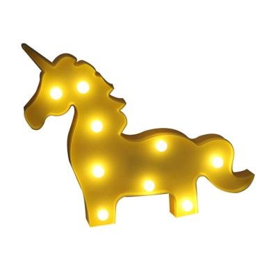 Unicorn Mini Night Lamp Cartoon Plastic Baby Room LED Wall Night Lighting in Blue/Pink/Yellow
