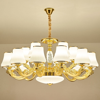 1/12/18 Bulbs Chandelier Lamp Traditional Cone White Ribbed Glass Wall Light Fixture in Gold