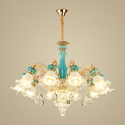 3/6/15-Bulb Down Chandelier Light Vintage Living Room Pendant Lamp with Ruffle Frosted Glass Shade in Gold