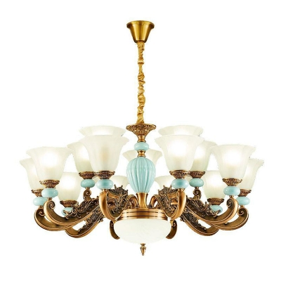 6/8/15 Bulbs Flared Up Chandelier Traditional Light Blue and Brass Frosted Glass Ceiling Pendant Light