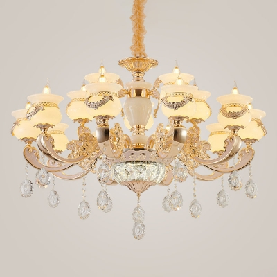 Gold 8/10/18-Light Lighting Ideas Traditional Crystal Candle Style Indoor Lamp for Living Room