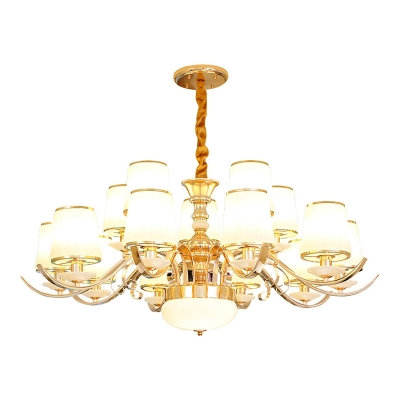 Gold Bucket Shaped Chandelier Modern Opaline Glass 8/10/15-Head Living Room Hanging Ceiling Light