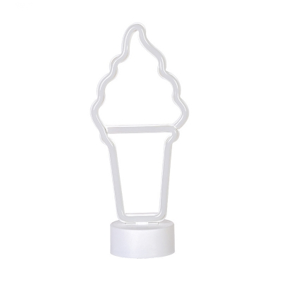 Kid Ice Cream Small Night Lamp Plastic Bedroom Battery Powered Table Lighting in White
