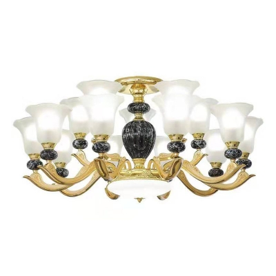 Morning Glory Living Room Lamp Frosted Glass 8/10/12 Bulbs Modern Lighting Fixture in Black/Red/Green