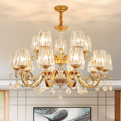 Conical Crystal Prism Suspension Lamp Contemporary 8/10/15 Lights Gold Hanging Chandelier for Living Room