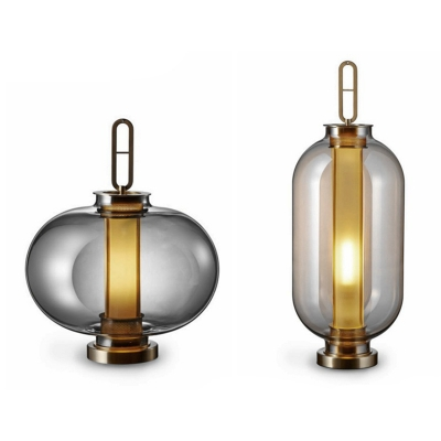 Ellipse/Oblong Lantern Night Light Designer Amber/Smoke Grey Glass Single Bedside Table Lamp in Gold