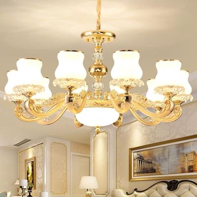 Gourd Shaped Living Room Hanging Light Modern White Glass 10/15/18 Heads Gold Chandelier
