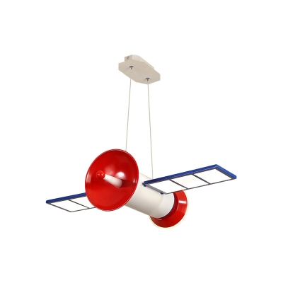 Kid Space Station Pendant Lamp Acrylic Boys Bedroom LED Hanging Chandelier in Blue-Red, Warm/White/3 Color Light
