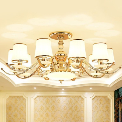 Modern Tapered Hanging Chandelier 10-Head Milky Glass Pendant Light Fixture in Gold