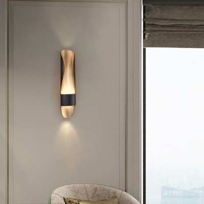 Postmodern 1 Bulb Sconce Light Black-Gold Curved Wall Mount Lamp with Metal Shade