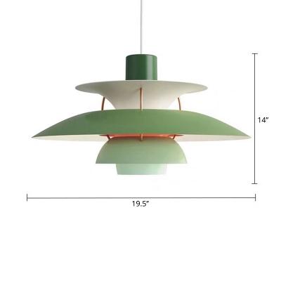 Small/Large Layered Restaurant Pendant Lamp Metallic Single-Bulb Macaron Hanging Light in Pink/Red/Blue
