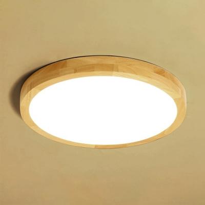 Small/Medium/Large Bedroom LED Flushmount Nordic Wood Thin Ceiling Flush Light with Round/Square/Rectangle Acrylic Shade