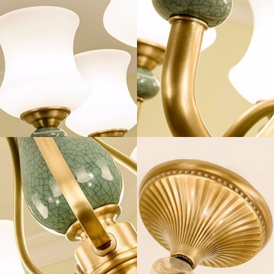 Vintage Curved Lamp Fixture 8/10/12-Light Satin Opal Glass Indoor Lighting Ideas in Green