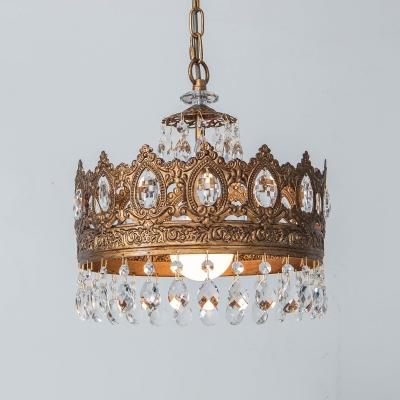 1-Light Crystal/Clear Glass Pendulum Light Retro Brass/White Bell/Crown Shaped Bedside Down Lighting Pendant