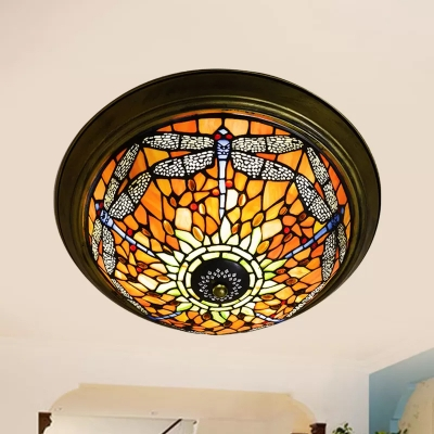 Dragonfly Pattern Flush Mount Ceiling Light with Tiffany Colorful Glass Shade, 2 Sizes