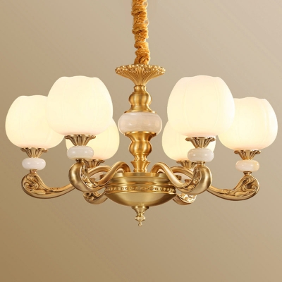 Globe White Glass Hanging Chandelier Antique 8/10/15 Heads Living Room Wall Light in Brass with Jade Deco