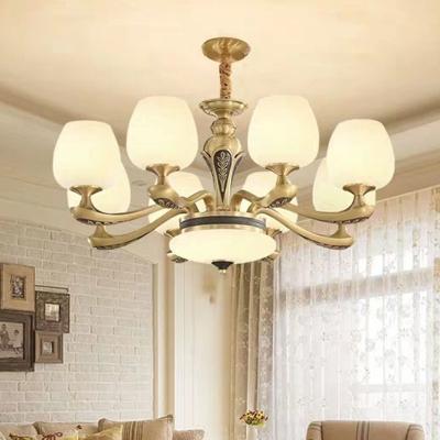Hand-Blown White Glass Bud Pendant Light Vintage 8/10/15 Bulbs Living Room Ceiling Chandelier in Brass