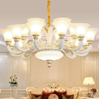 Paneled Bell Living Room Hanging Lamp Traditional Frosted Glass 10/12/18-Light White Chandelier