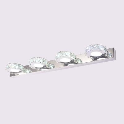 Round/Square Bathroom Vanity Light Modern Crystal Encrusted 3/4-Head Stainless Steel Wall Lighting