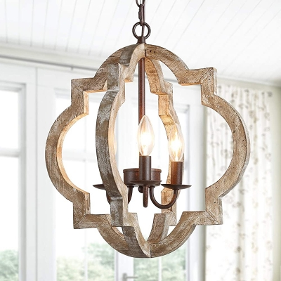 Single Quatrefoil Caged Pendant Lighting Countryside Distressed White/Brown Wooden Hanging Lamp