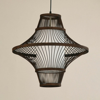 Trumpet Flared Hanging Pendant Light Chinese Bamboo 1 Head Coffee Small/Medium/Large Pendulum Light