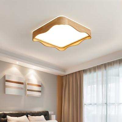 Wood Wavy Square/Rectangle Flushmount Creative Minimalist Medium/Large LED Ceiling Flush Mount Light in Warm/White/3 Color Light