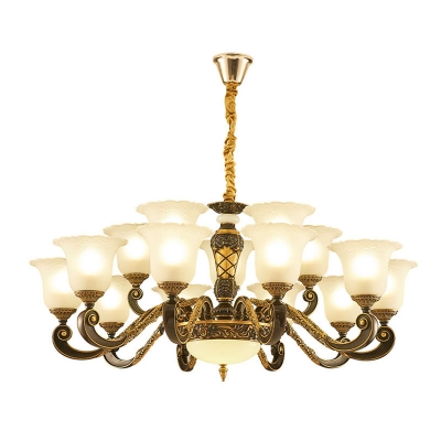6/8/15-Bulb Morning Glory Hanging Lamp Traditional White Frost Glass Up Chandelier for Living Room