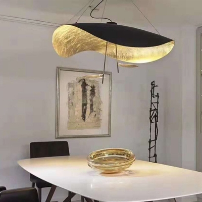 Black and Gold Inner Twisted Pendant Lamp Postmodern 1 Head Metal Hanging Ceiling Light, 16